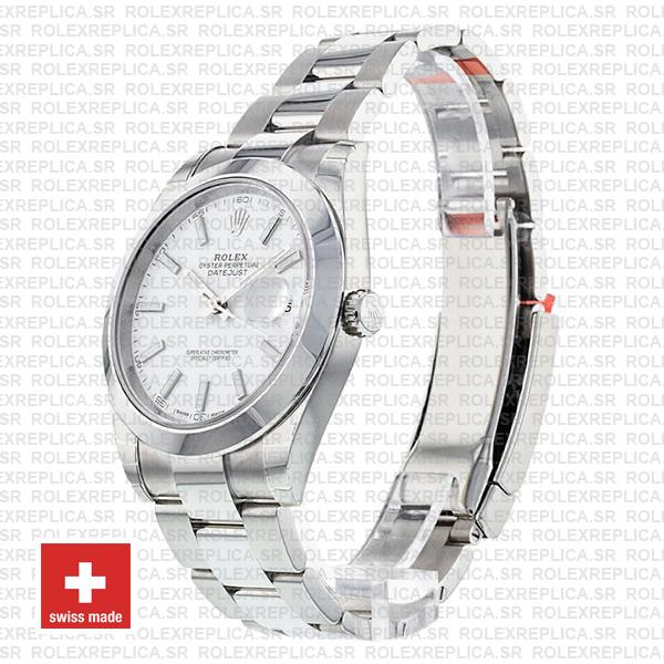 Rolex Datejust 41mm Stainless Steel White Dial with Oyster Bracelet Smooth Bezel