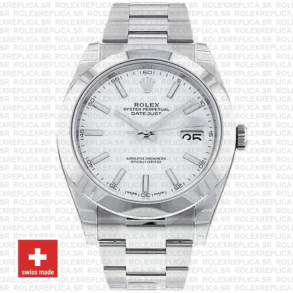 Rolex Datejust 41mm Stainless Steel White Dial with Oyster Bracelet