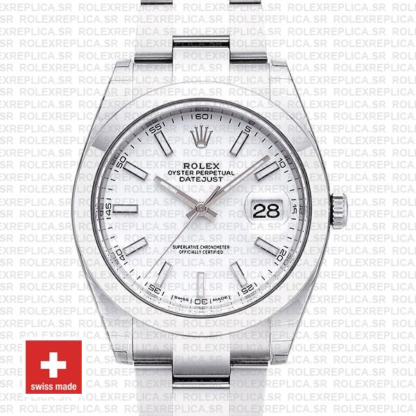 Rolex Datejust 41 904L Steel White Dial Oyster | Replica Watch