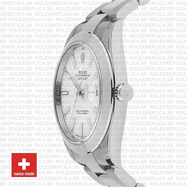 Rolex Datejust 41 904L Steel White Dial Oyster Swiss Replica Watch