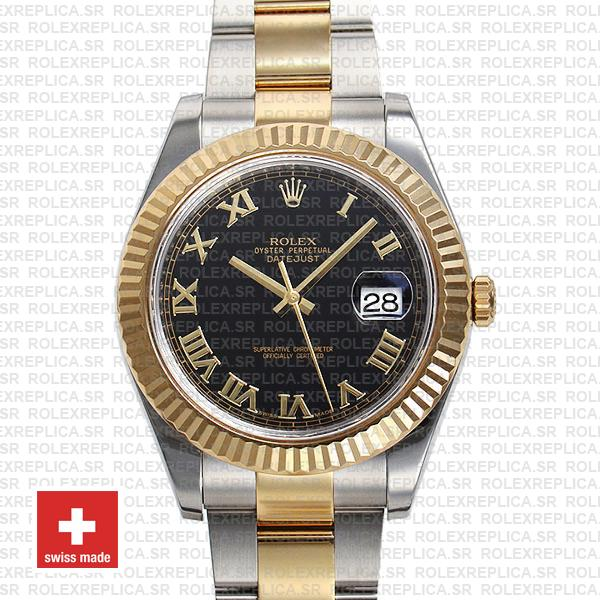 Rolex Datejust Ii 2 Tone Black Dial Gold Roman Markers 41mm 116333 Swiss Replica