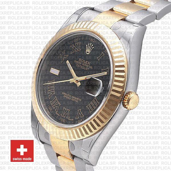 Rolex Datejust ΙΙ Two-Tone Gold 41 | Black Roman Dial Replica Watch