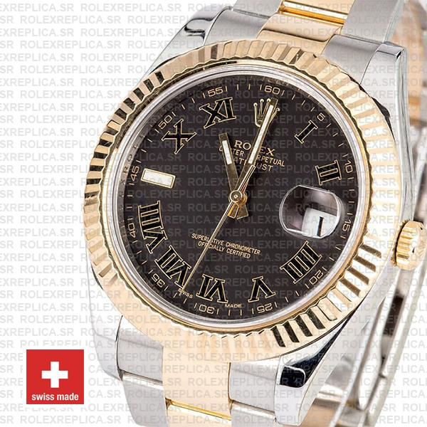 Rolex Datejust ΙΙ Two-Tone 18k Yellow Gold, Stainless Steel in Black Roman Dial