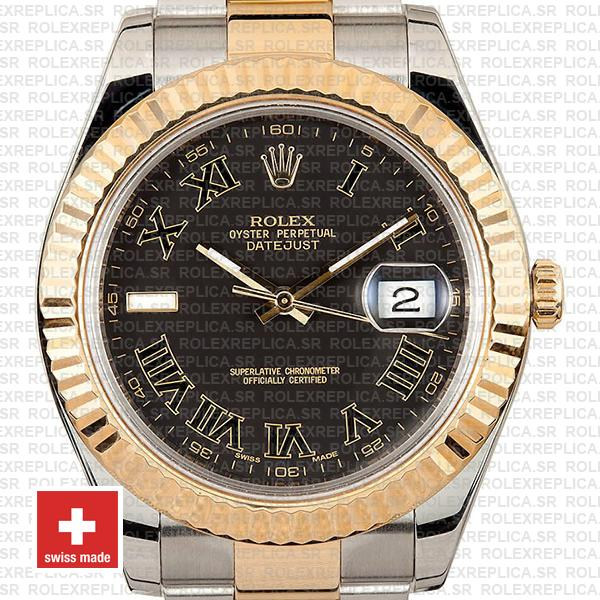 Rolex Datejust ΙΙ Two-Tone 18k Yellow Gold, Stainless Steel in Black Roman Dial Fluted Bezel Clone Watch