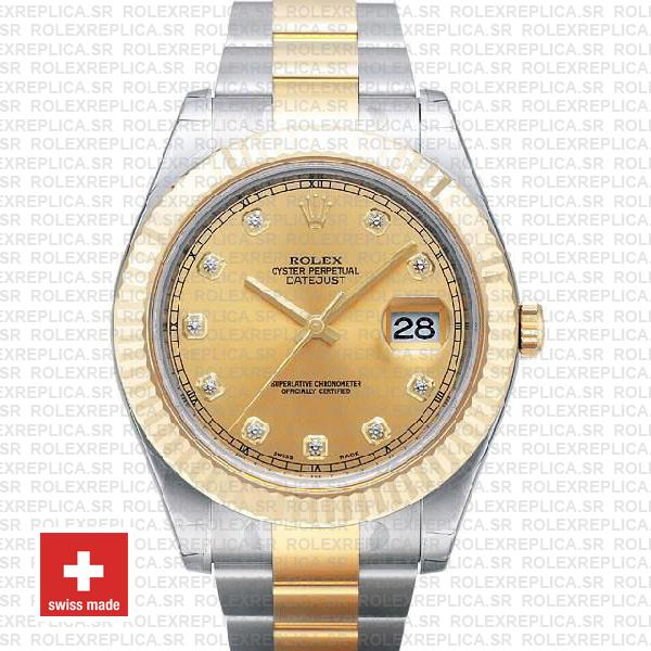 Rolex Datejust Ii 2 Tone Diamond Markers Gold Dial 41mm 116333 Swiss Replica