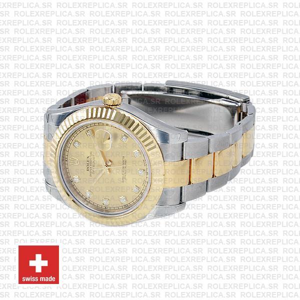 Rolex Datejust Ii 2 Tone Diamond Markers Gold Dial 41mm 116333 Swiss Replica