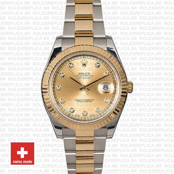 Rolex Datejust II Oyster Two-Tone 18k Yellow Gold, 904L Steel Fluted Bezel