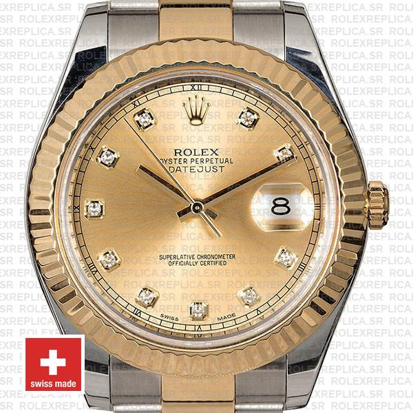 Rolex Datejust II Oyster Two-Tone 18k Yellow Gold, 904L Steel Fluted Bezel Gold Dial Diamond Markers