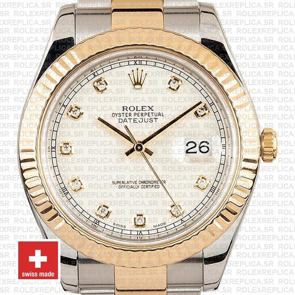 Rolex Datejust ΙΙ Two-Tone 18k Yellow Gold, 904L Steel Fluted Bezel Ivory White Dial Diamond Markers 41mm Watch