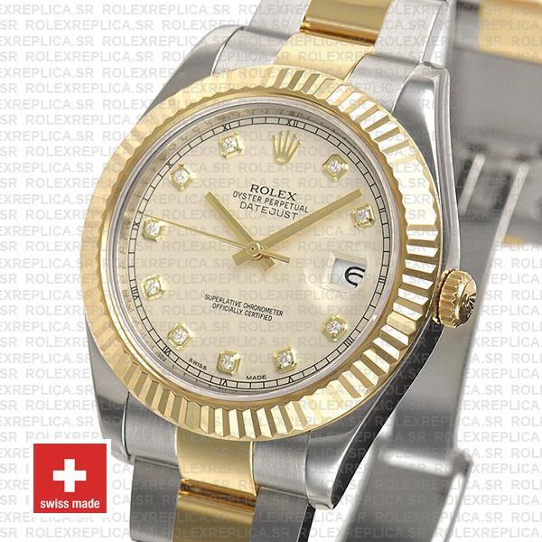 Swiss Rolex Datejust ΙΙ Two-Tone Ivory White Diamond Swiss Replica Watch