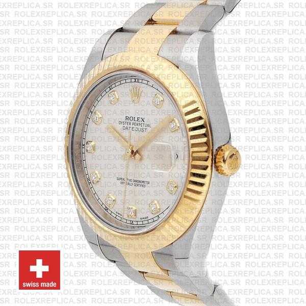 Swiss Rolex Datejust ΙΙ Two-Tone Ivory White Diamond Replica Watch