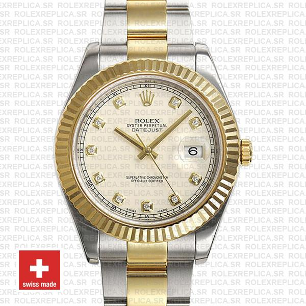 Rolex Datejust Ii 2 Tone Diamond Markers White Dial 41mm 116333 Swiss Replica