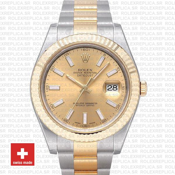 Rolex Datejust ΙΙ Two-Tone Gold Dial 41mm Replica Watch