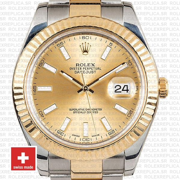 Rolex Datejust ΙΙ Two-Tone 18k Yellow Gold, 904L Steel Fluted Bezel Gold Dial
