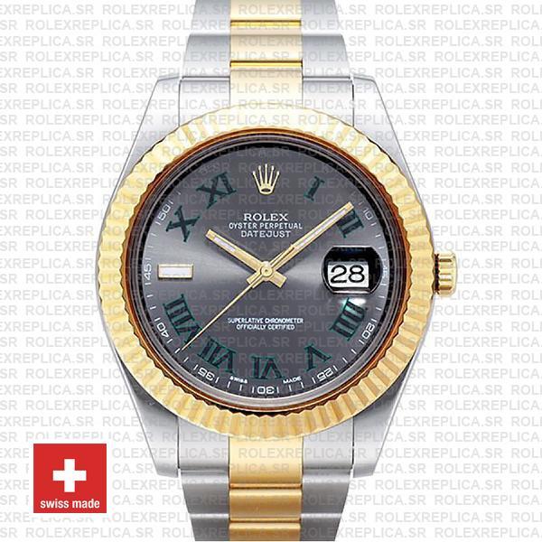 Rolex Datejust ΙΙ Two-Tone Slate Grey Green Roman Dial Watch