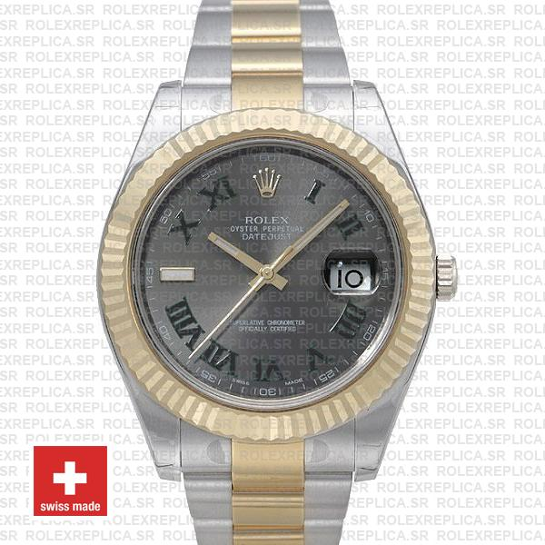 Rolex Datejust Ii 2 Tone Green Roman 41mm 116333 Swiss Replica