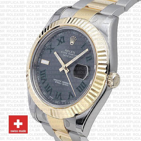 Rolex Datejust ΙΙ Two-Tone Slate Grey Green Roman Dial Replica Watch