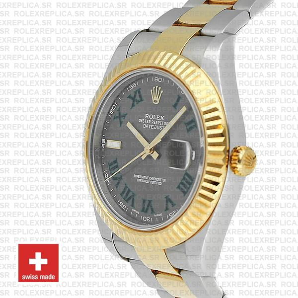 Rolex Datejust ΙΙ Two-Tone Slate Grey Green Roman Dial Swiss Replica Watch