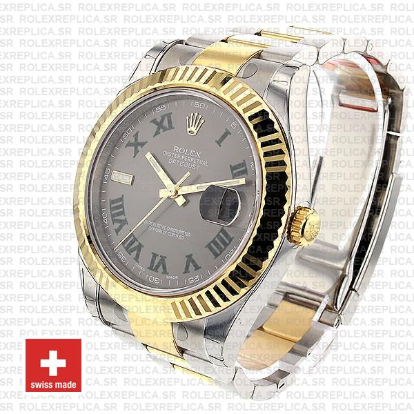 Rolex Datejust ΙΙ Two-Tone 18k Yellow Gold, 904L Steel Fluted Bezel Slate Grey Dial Green Roman Markers