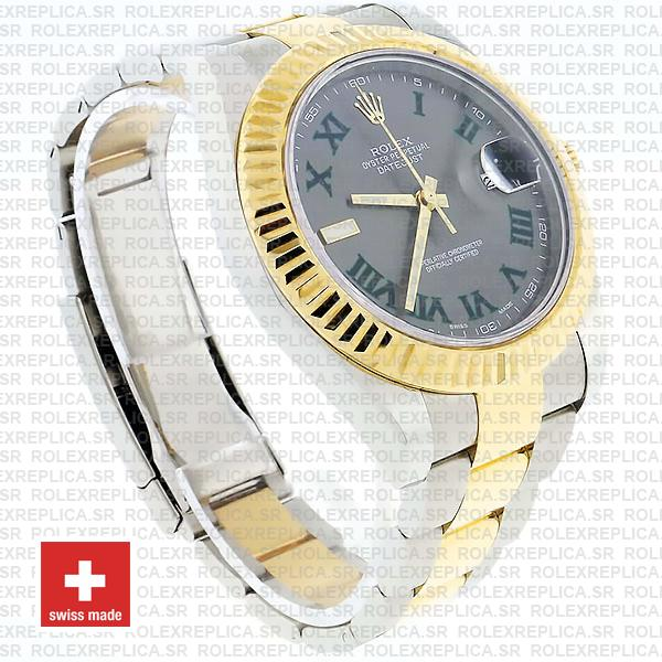 Rolex Datejust ΙΙ Two-Tone 18k Yellow Gold, 904L Steel Fluted Bezel Slate Grey Dial Green Roman Markers 41mm