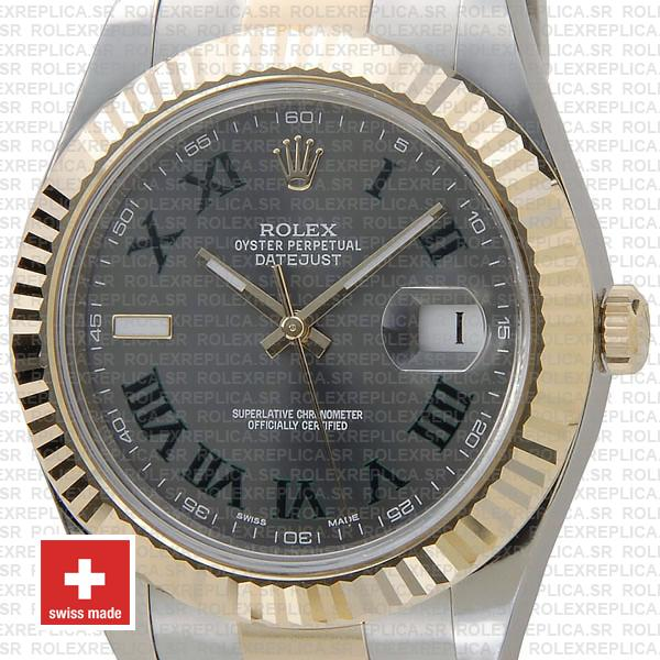 Rolex Datejust ΙΙ Two-Tone 18k Yellow Gold, 904L Steel Fluted Bezel Slate Grey Dial Green Roman Markers 41mm Replica