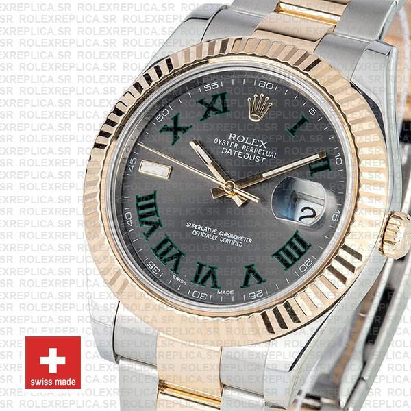Rolex Datejust ΙΙ Two-Tone 18k Yellow Gold, 904L Steel Fluted Bezel Slate Grey Dial Green Roman Markers 41mm Replica Watch