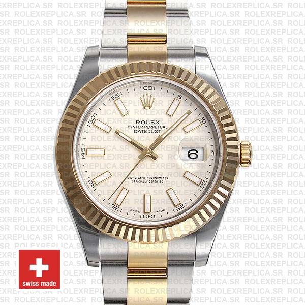 Rolex Datejust ΙΙ Oyster Bracelet Two-Tone 18k Yellow Gold 904L Steel Fluted Bezel White Dial