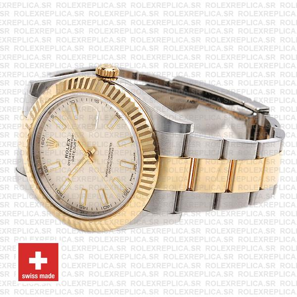 Rolex Datejust ΙΙ Oyster Bracelet Two-Tone 18k Yellow Gold 904L Steel Fluted Bezel White Dial 41mm