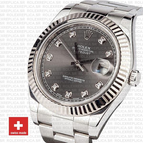 Rolex Datejust ΙΙ Grey Dial Diamonds Swiss Replica