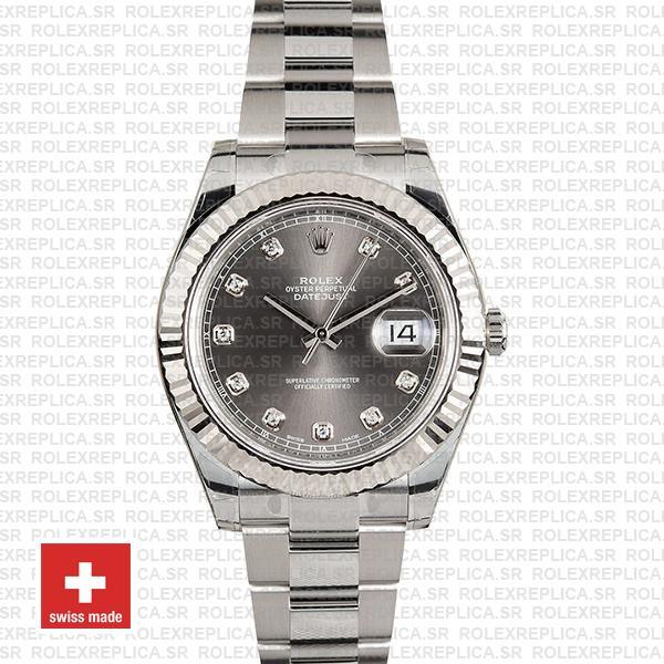 Rolex Datejust ΙΙ Oyster Dark Rhodium Grey Dial Diamond Markers 904L Steel