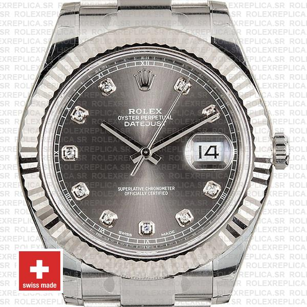 Rolex Datejust ΙΙ Oyster Dark Rhodium Grey Dial Diamond Markers 904L Steel 18k White Gold Fluted Bezel