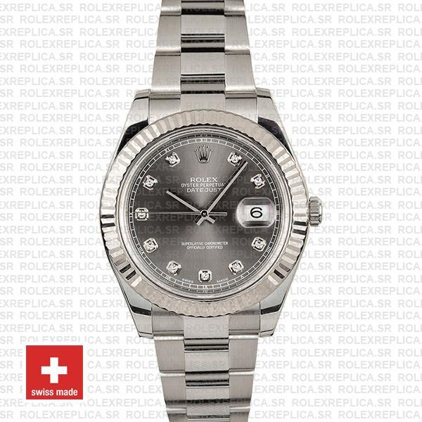 Rolex Datejust ΙΙ Oyster Dark Rhodium Grey Dial Diamond Markers 904L Steel 18k White Gold Fluted Bezel 41mm Watch