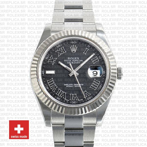 Rolex Datejust Ii Steel 18k White Gold Black Roman 41mm 116334 Swiss Replica