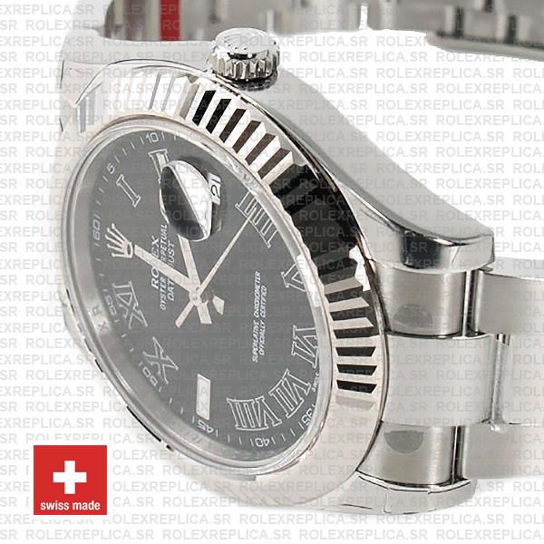 Rolex Datejust Black Roman Dial Replica Watch, the Black Dial 41mm