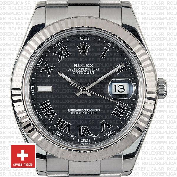Rolex Datejust Black Roman Dial Replica Watch, the Black Dial 41mm Roman Numerals, Fluted Bezel