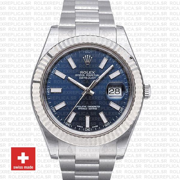 Rolex Datejust Ii Steel 18k White Gold Blue 41mm 116334 Swiss Replica