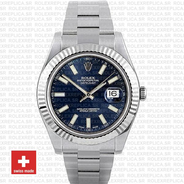 Rolex Datejust ΙΙ 904L Steel Blue Dial Stick Markers 18k White Gold Fluted Bezel 41mm