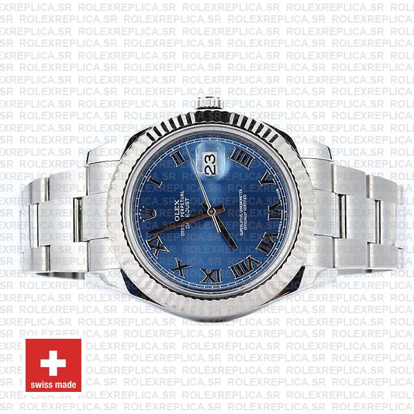 Rolex Datejust ΙΙ 904L Steel Blue Dial Roman Markers 18k White Gold Fluted Bezel 41mm