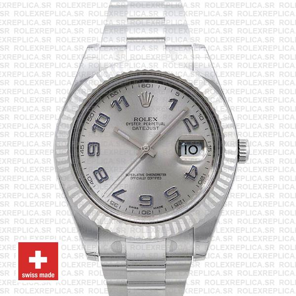 Rolex Datejust Ii Steel 18k White Gold Silver Arabic 41mm 116334 Swiss Replica Replica