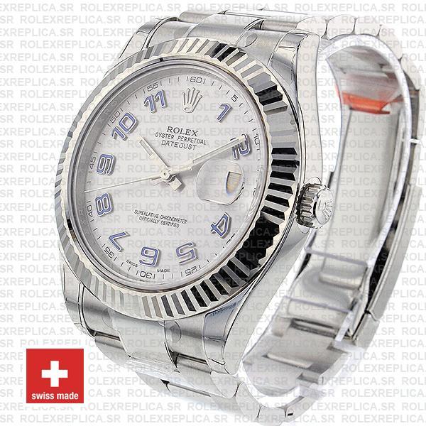 Rolex Datejust ΙΙ 904L Steel Silver Dial Arabic Numerals 18k White Gold
