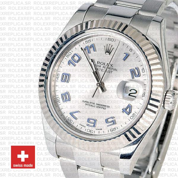 Rolex Datejust ΙΙ 904L Steel Silver Dial Arabic Numerals 18k White Gold Fluted Bezel 41mm
