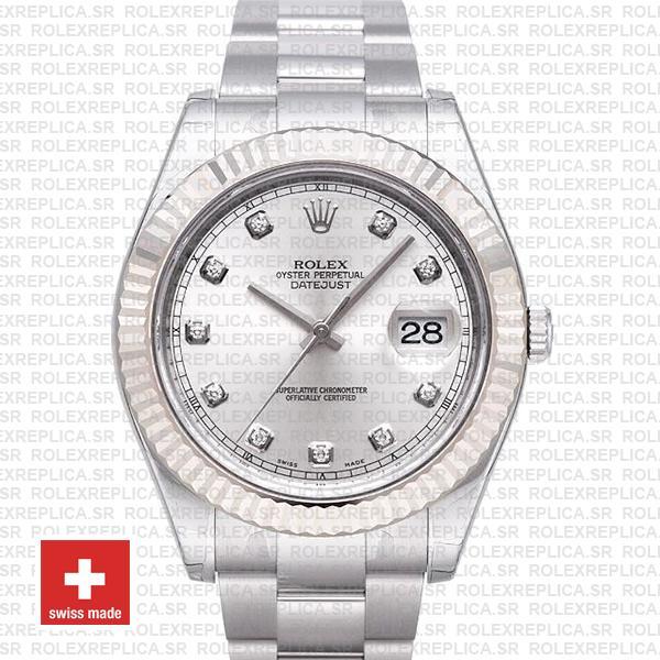 Rolex Datejust ΙΙ 41mm Silver Diamonds Dial Swiss Replica