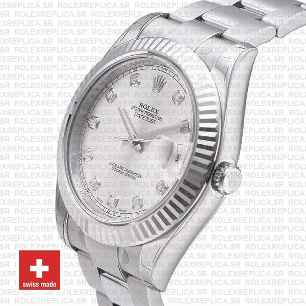 Rolex Datejust ΙΙ 41mm Silver Diamonds Dial Swiss Replica Watch