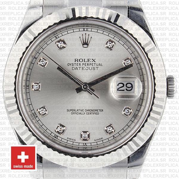 Rolex Datejust ΙΙ 41mm Silver Diamonds Dial Replica Watch