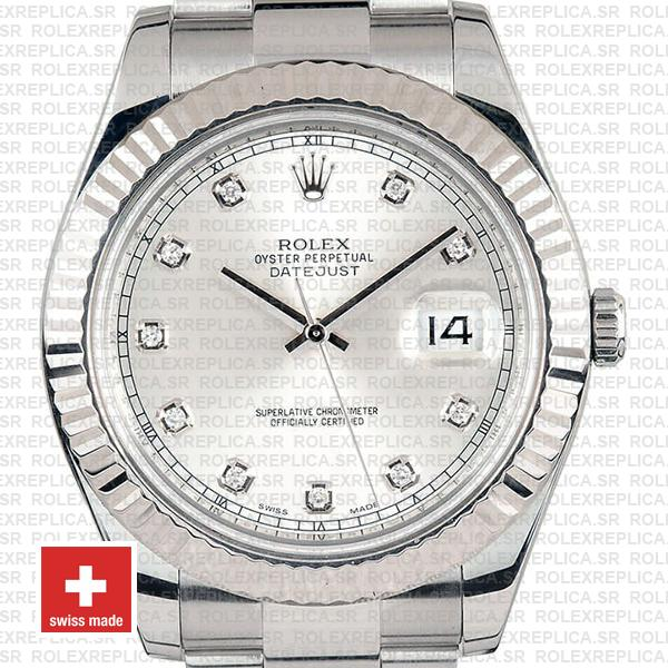 Rolex Datejust ΙΙ Silver Dial Diamond Markers 904L Steel 18k White Gold Fluted Bezel