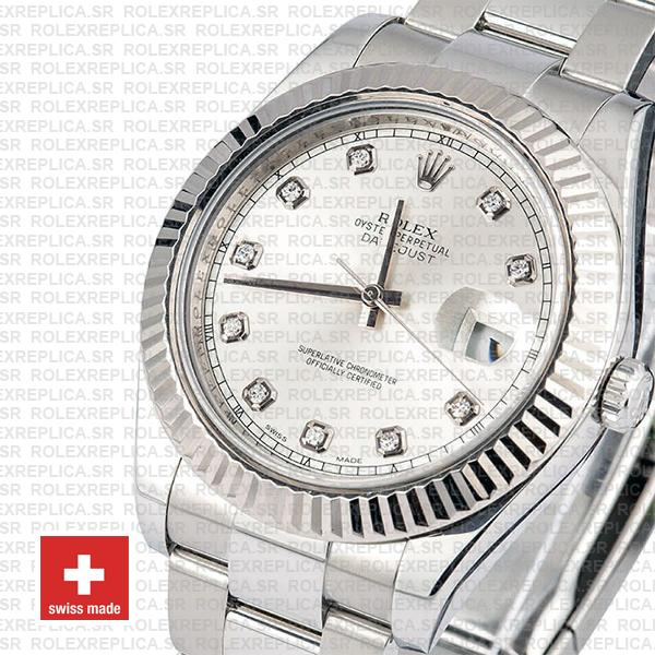 Rolex Datejust ΙΙ Silver Dial Diamond Markers 904L Steel 18k White Gold Fluted Bezel 41mm Watch