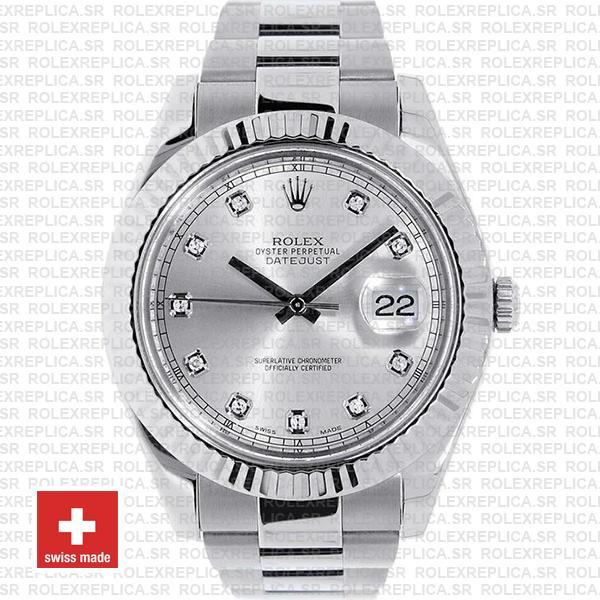 Rolex Datejust ΙΙ Silver Dial Diamond Markers 904L Steel 18k White Gold Fluted Bezel 41mm Swiss Watch