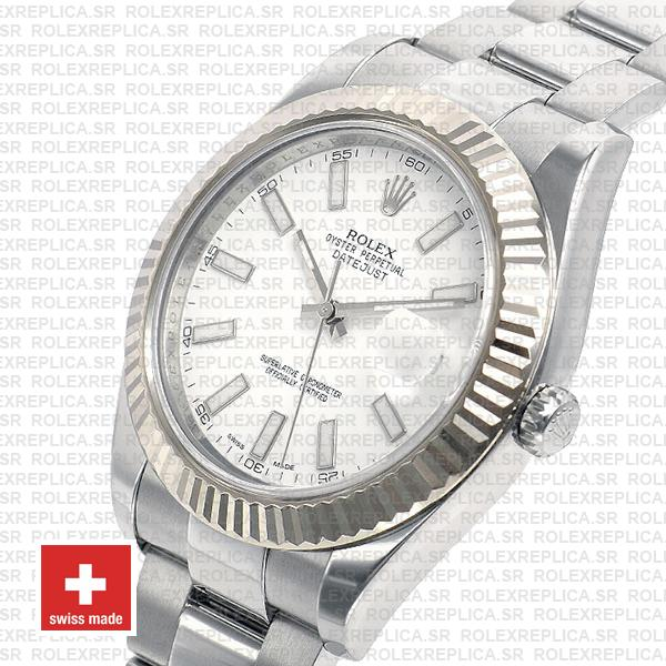 Rolex Datejust ΙΙ 904L Steel White Dial Stick Markers 18k White Gold Fluted Bezel 41mm