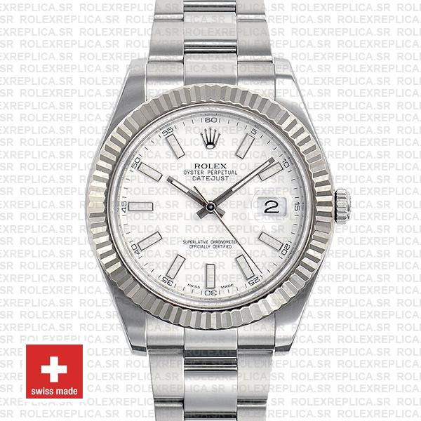 Rolex Datejust ΙΙ 41 White Dial Oyster Bracelet Replica Watch