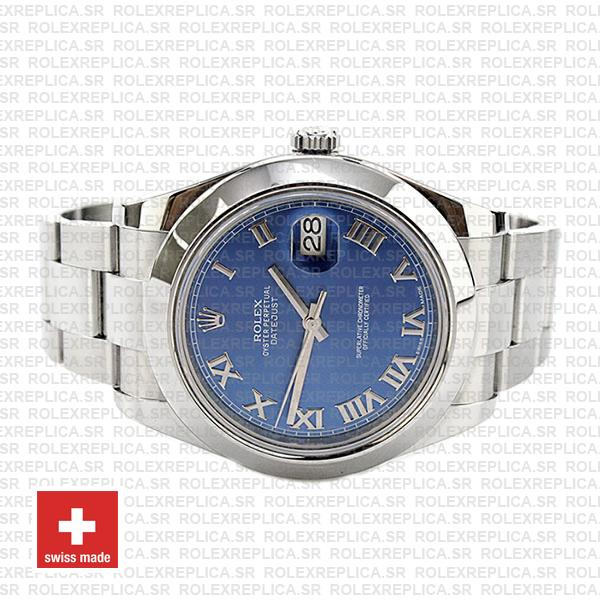 Rolex Oyster Perpetual Datejust II 904L Steel 41mm Blue Dial with Smooth Bezel 116300 Replica Watch